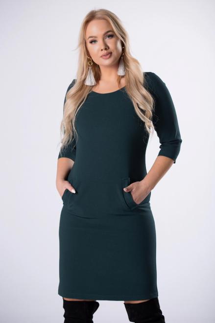 ROXANA  dopasowana sukienka z kieszeniami z przodu M81475 Платья +Size Зеленый оптом