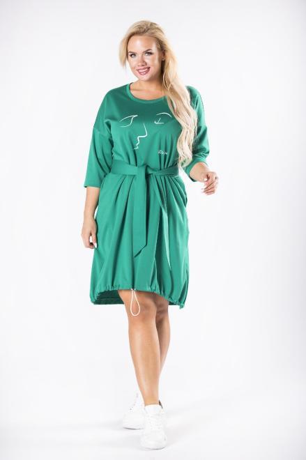 ROXANA  dzianinowa sukienka z wiązaniem w pasie, nadrukiem na biuście oraz ściągaczem na dole M81595 Платья +Size Зеленый оптом