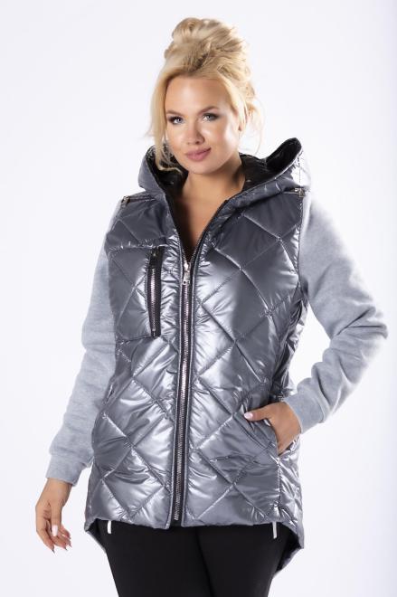 ADRAINO INES ROSE  pikowana kurtka z dresowymi rękawami i wydłużonym tylem M81176 Трикотажные брюки Серый оптом