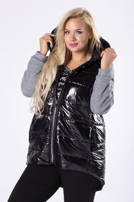 ADRAINO INES ROSE  pikowana kurtka z dresowymi rękawami i wydłużonym tylem M81176 Трикотажные брюки Черный оптом