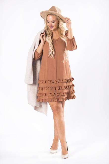 TRYNITE  sukienka z falbanami na dole i dekoltem w serek M81456 Платья +Size Коричневый оптом