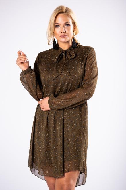 ROXANA  tiulowa sukienka o prostym kroju z bufiastymi rękawami i wiązaniem przy szyi M81479 Платья +Size Зеленый оптом