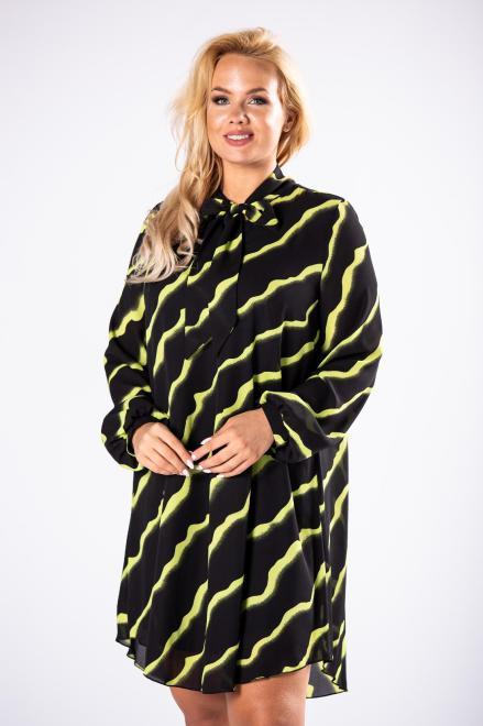 ROXANA  tiulowa sukienka o prostym kroju z bufiastymi rękawami i wiązaniem przy szyi M81479 Платья +Size Черный оптом