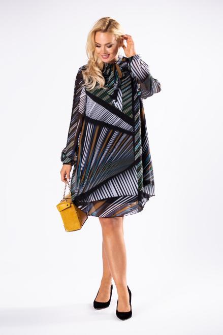 ROXANA  tiulowa sukienka o prostym kroju z bufiastymi rękawami i wiązaniem przy szyi M81479 Платья +Size Multikolor оптом