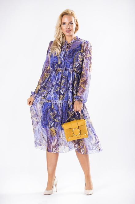 ROXANA  tiulowa sukienka midi z wiązaniem przy szyi, bufiastymi rękawami i falbankami M81478 Платья +Size Multikolor оптом