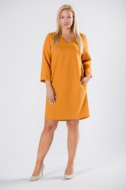 BRENDA  trapezowa sukienka z dekoltem w serek M81353 Платья +Size Желтый оптом