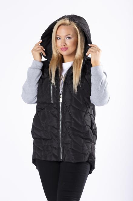 ADRAINO INES ROSE  pikowana kurtka z dresowymi rękawami i wydłużonym tylem M81175 Трикотажные брюки Черный оптом