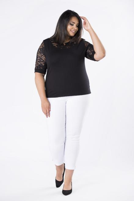 DOMINO STYL  spodnie cygaretki z gumką w pasie M74645 Брюки +Size Белый оптом