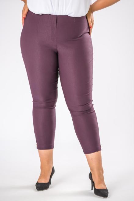 DOMINO STYL  spodnie cygaretki z gumką w pasie M74645 Брюки +Size Фиолетовый оптом