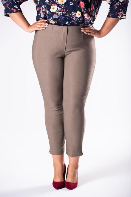 DOMINO STYL  spodnie cygaretki z gumką w pasie M74645 Брюки +Size Бежевый оптом