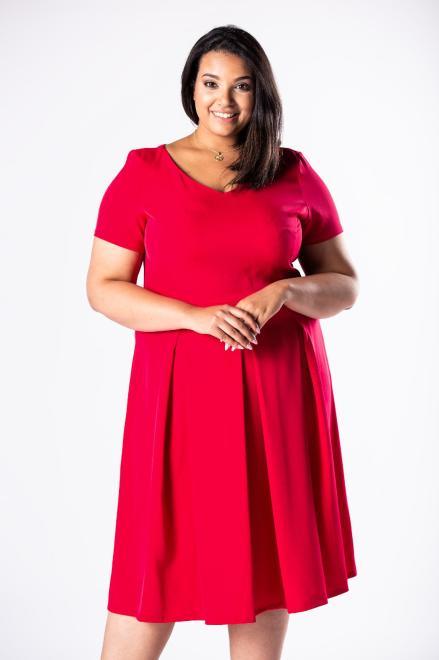 MADAM TRIS  rozkloszowana sukienka z dekoltem w serek i kontrafałdami M81144 Платья +Size Красный оптом