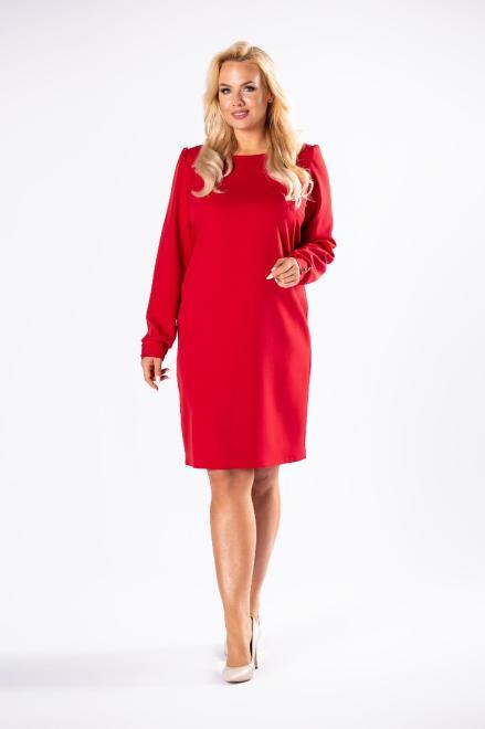 M&M  monochromatyczna sukienka o prostym kroju z bufkami na ramionach M81158 Платья +Size Красный оптом