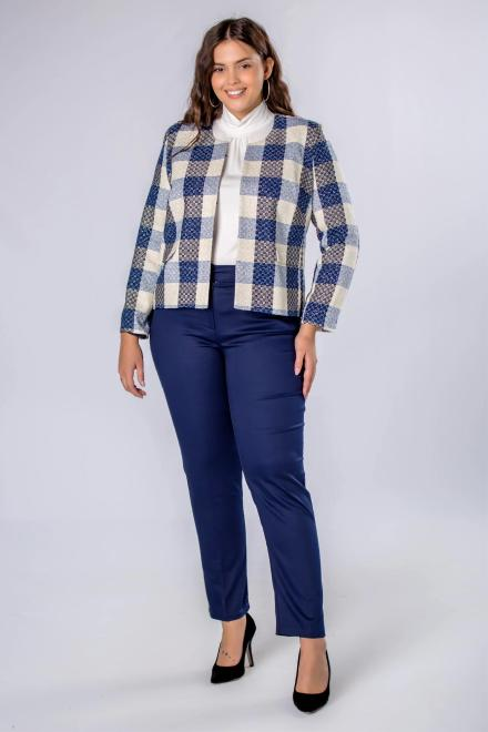 DOMINO STYL  eleganckie spodnie z prostymi nogawkami w kant M70306 Брюки +Size Темносиний оптом