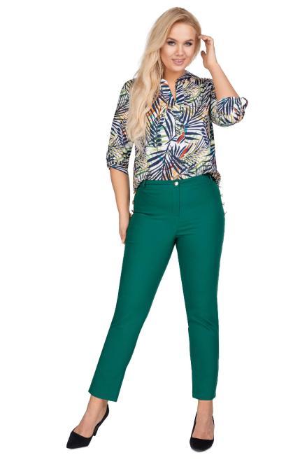 OLA FASHION  eleganckie spodnie z ozdobnymi guzikami przy kieszeniach M77806 Брюки +Size Зеленый оптом