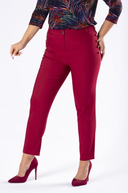 OLA FASHION  eleganckie spodnie z ozdobnymi guzikami przy kieszeniach M77806 Брюки +Size Бордовый оптом