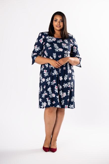 LOTO  trapezowa sukienka z rozcięciami na rękawach M80568 Платья +Size Темносиний оптом