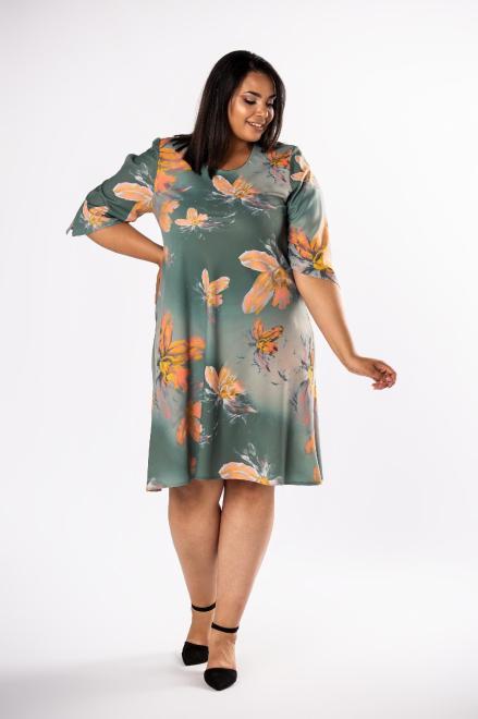 LOTO  trapezowa sukienka z rozcięciami na rękawach M80568 Платья +Size Зеленый оптом
