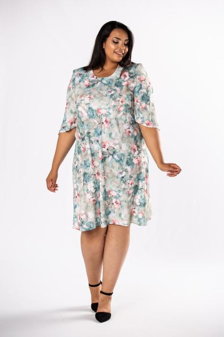 LOTO  trapezowa sukienka z rozcięciami na rękawach M80568 Платья +Size Multikolor оптом