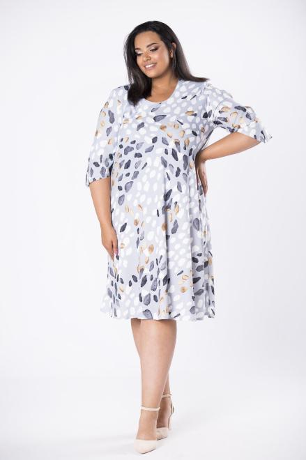 LOTO  trapezowa sukienka z rozcięciami na rękawach M80568 Платья +Size Серый оптом