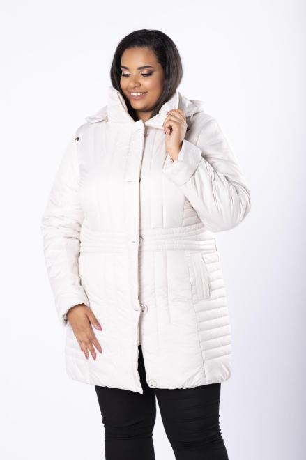 Bergamo  taliowana kurtka z kapturem i ozdobnymi guzikami M80920 Куртка +Size Кремовый оптом