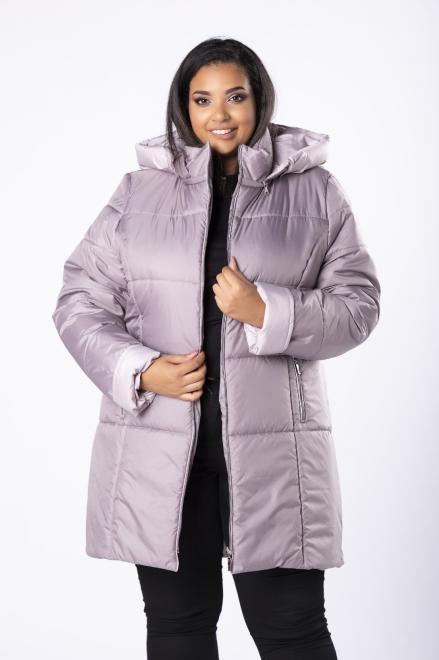 Bergamo  pikowana kurtka o dłużyszm kroju z kapturem M80929 Куртка +Size Серый оптом