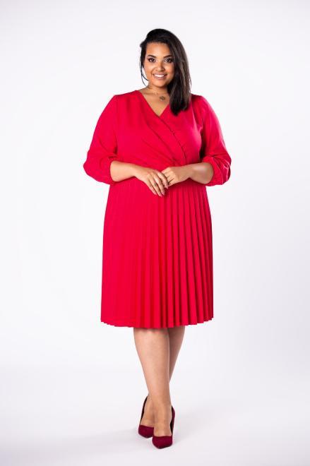 INTER IREX  sukienka o kopertowym kroju z plisowanym dołem M78277 Платья +Size Красный оптом