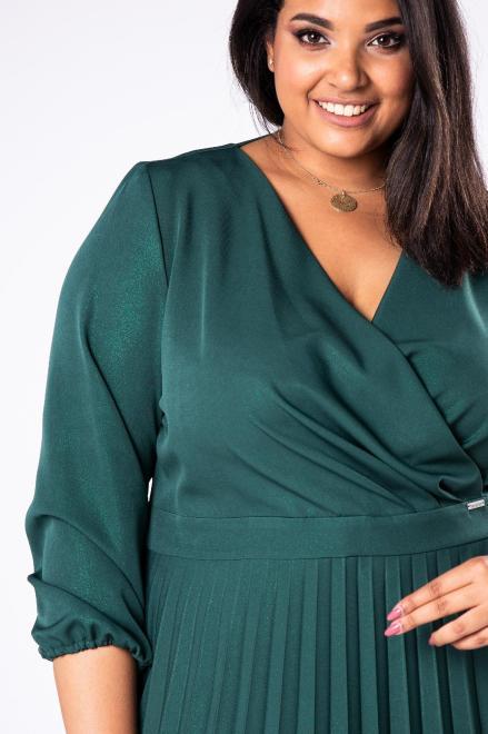 INTER IREX  sukienka o kopertowym kroju z plisowanym dołem M78277 Платья +Size Зеленый оптом