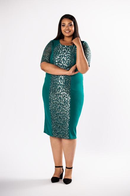 LOTO  ołówkowa sukienka z koronkowymi wstawkami  M80730 Платья +Size Зеленый оптом