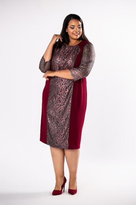 LOTO  ołówkowa sukienka z koronkowymi wstawkami  M80730 Платья +Size Бордовый оптом