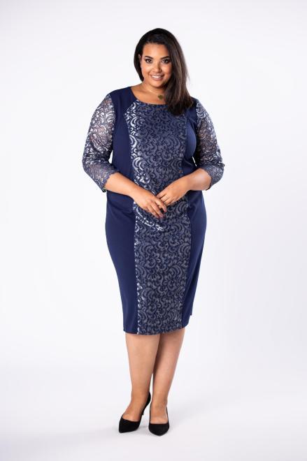 LOTO  ołówkowa sukienka z koronkowymi wstawkami  M80730 Платья +Size Темносиний оптом