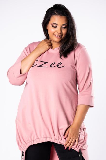 IZEE  dresowa tunika z asymetrycznym dołem z szelkami, brokatowym nadrukiem na biuście i wydłużonym tyłem M81029 Трикотажные брюки Розовый оптом