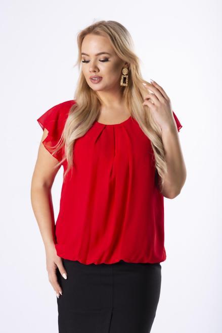 DEIZ  tiulowa bluzka z falbankami na ramionach i marszczeniem na biuście M43525 Блузки +Size Красный оптом