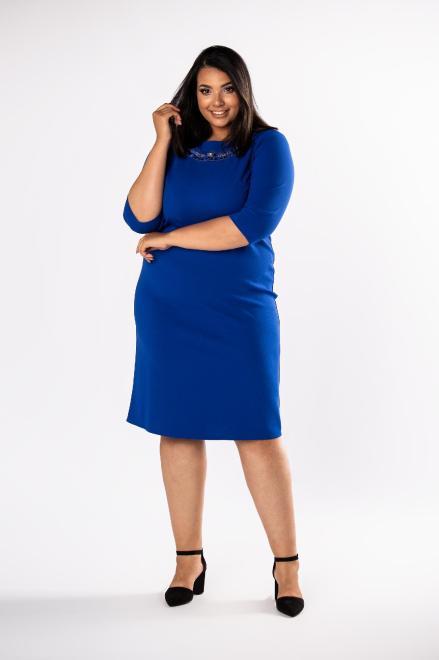 LOTO  dopasowana sukienka z biżuteryjną ozdobą i siateczką przy dekolcie M80570 Платья +Size Голубой оптом