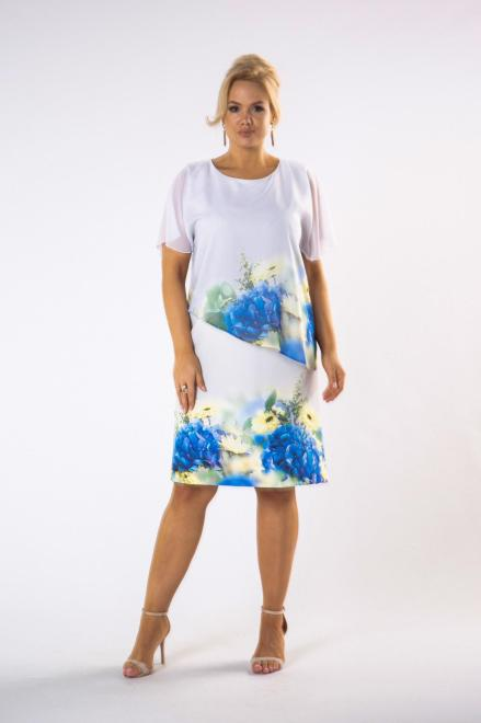 MADAM TRIS  trapezowa sukienka z tiulową narzutką M79870 Платья +Size Кремовый оптом