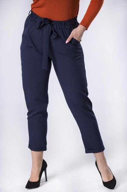 ANETPOL  eleganckie spodnie z talią typu paper bag M57270 Брюки +Size Темносиний оптом