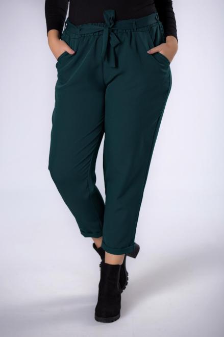 ANETPOL  eleganckie spodnie z talią typu paper bag M57270 Брюки +Size Зеленый оптом