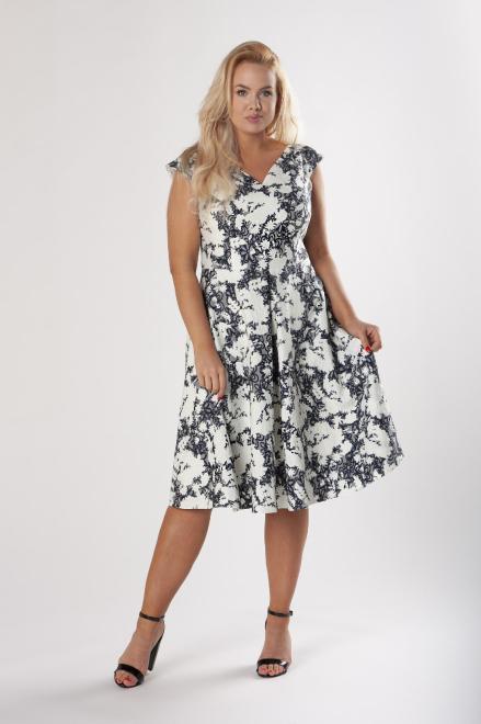 BOG-MAR  rozkloszowana sukienka z tłoczonym wzorem i kontrafałdami M79162 Платья +Size Multikolor оптом