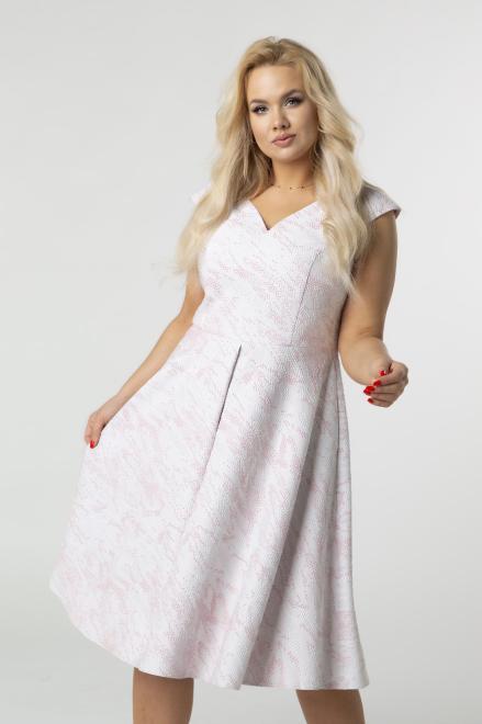 BOG-MAR  rozkloszowana sukienka z tłoczonym wzorem i kontrafałdami M79162 Платья +Size Розовый оптом