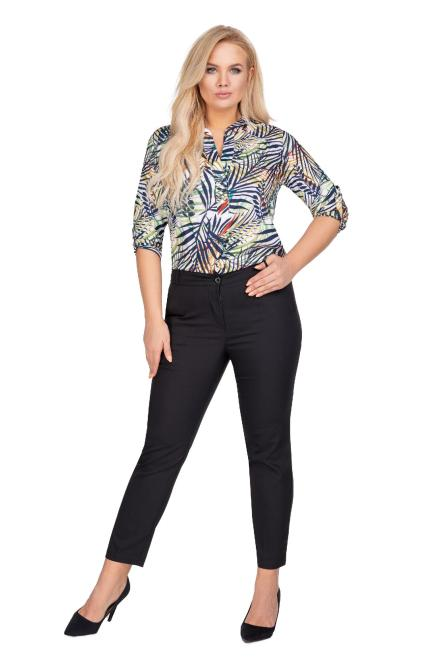 OLA FASHION  eleganckie spodnie z nogawkami w kant M77971 Брюки +Size Черный оптом