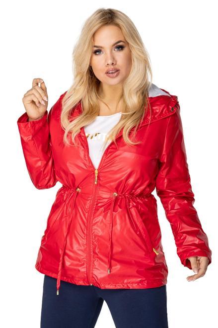 Bergamo  składana przeciwdeszczowa kurtka parka z kapturem i ściągaczem w pasie M76752 Куртка +Size Красный оптом