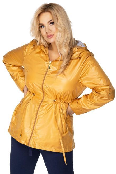 Bergamo  składana przeciwdeszczowa kurtka parka z kapturem i ściągaczem w pasie M76754 Куртка +Size Желтый оптом