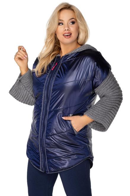 Bergamo  pikowana kurtka z dzianinowymi rękawami i kapturem M76764 Куртка +Size Темносиний оптом