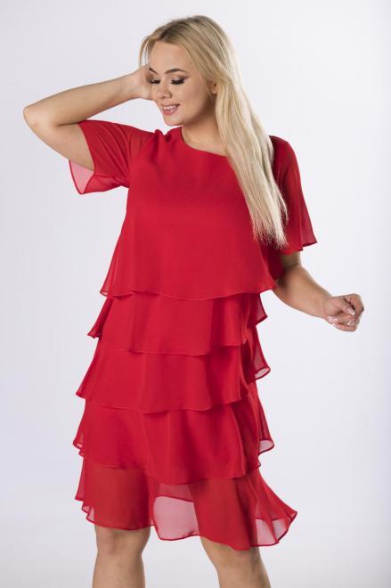 LA TOYA  tiulowa sukienka z asymetrycznymi falbanami M63624 Платья +Size Красный оптом