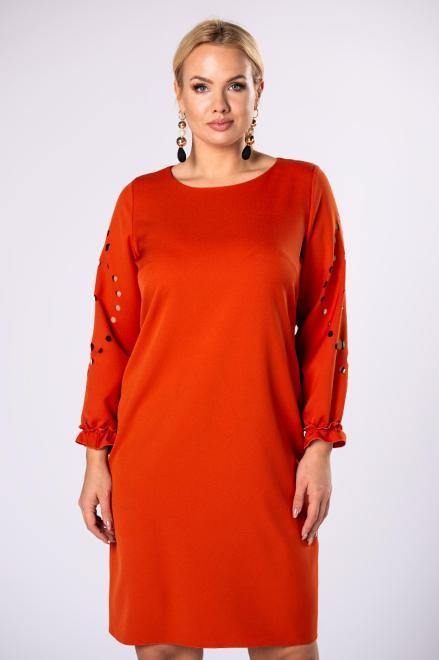 M&M  trapezowa sukienka z ażurowymi wycinaniami na rękawach M81960 Платья +Size Оранжевый оптом