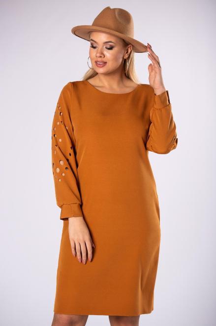 M&M  trapezowa sukienka z ażurowymi wycinaniami na rękawach M81960 Платья +Size Бежевый оптом