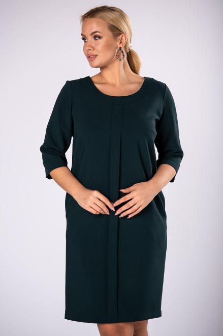 ROXANA  monochromatyczna sukienka z zakładką z przodu M81931 Платья +Size Зеленый оптом