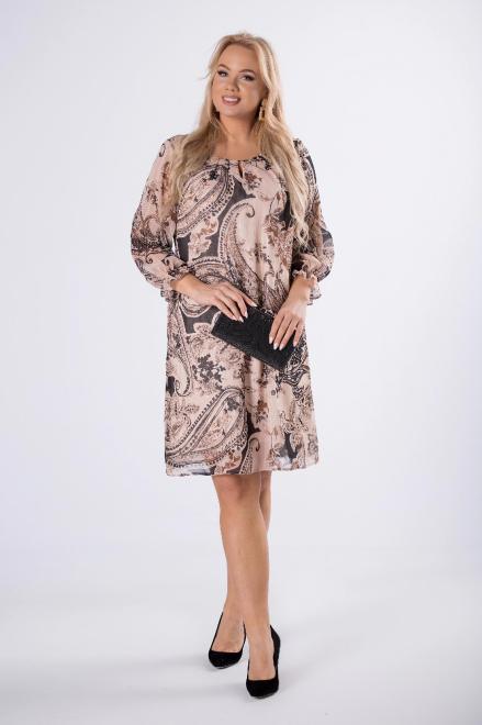 TRYNITE  tiulowa sukienka z zakładkami przy dekolcie i bufiastymi rękawami M80374 Платья +Size Бежевый оптом
