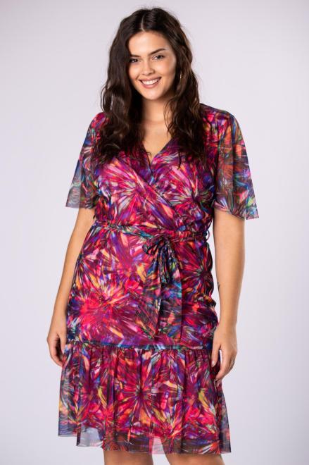 INTER - IREX RENATA  tiulowa sukienka z kopertowym dekoltem, falbanami i wiązaniem w pasie M81952 Платья +Size Multikolor оптом