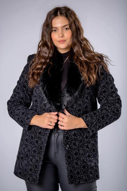 MODUSS  elegancka kurtka z futerkowym kołnierzem i ozdobnym tłoczeniem M82099 Куртка +Size Черный оптом