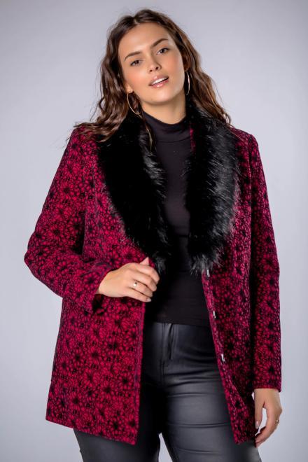 MODUSS  elegancka kurtka z futerkowym kołnierzem i ozdobnym tłoczeniem M82099 Куртка +Size Бордовый оптом